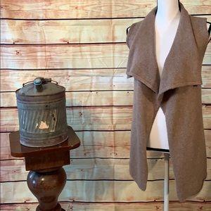 Cynthia Rowley Brown Sleeveless Cardigan Sweater